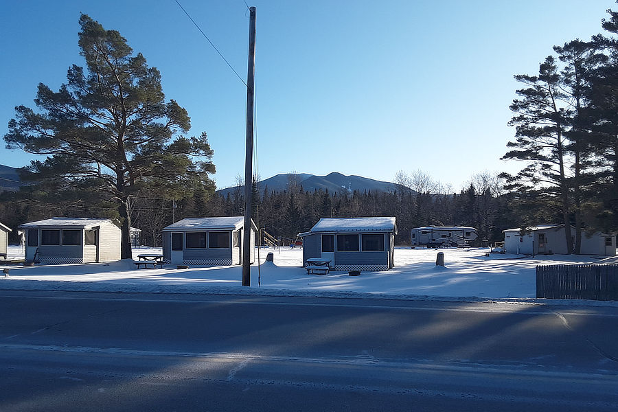 Cabins in Winter at Along the River Campground & Cabins